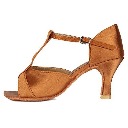HIPPOSEUS Zapatos de Baile Latino con Correa en T para Mujer Zapatos de práctica de Baile de salón de satén,Marrón,37.5 EU