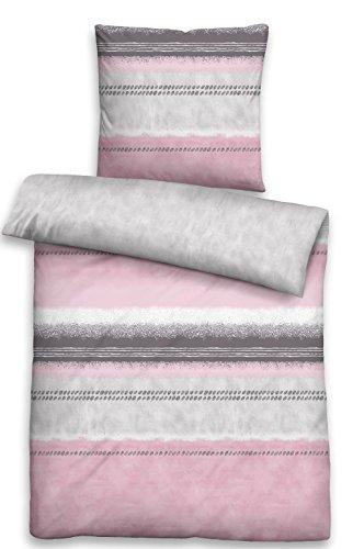 Biberna 0636040 Parure de lit en Satin de Coton mako avec taie d'oreiller Rose 135 x 200 cm + 1 taie d'oreiller 80 x 80 cm