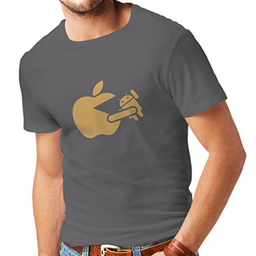 lepni.me Camisetas Hombre Funny Apple Comer un Robot - Regalo para los fanáticos de la tecnología (XX-Large Grafito Oro)