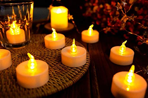 Bright 24pcs Remote Controlled Battery Operated LED Candle w/Controller Flickering flameless Votive tealight lamp Wedding Birthday Xmas Flickering (Color : Amber)