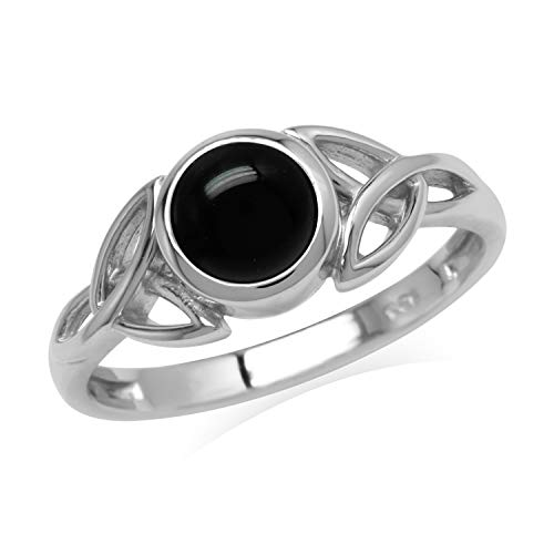 Silvershake Natural 6 mm Round Black Onyx Stone 925 Sterling Silver Triquetra Celtic Knot Ring Size 7