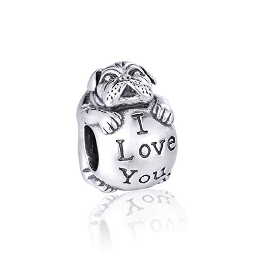 EVESCITY Limited Edition Multi Styles #2 925 Sterling Silver Bead For Charms Bracelets ♥ Best Jewelry Gifts for Her ♥ (I Love You Bulldog Dog)