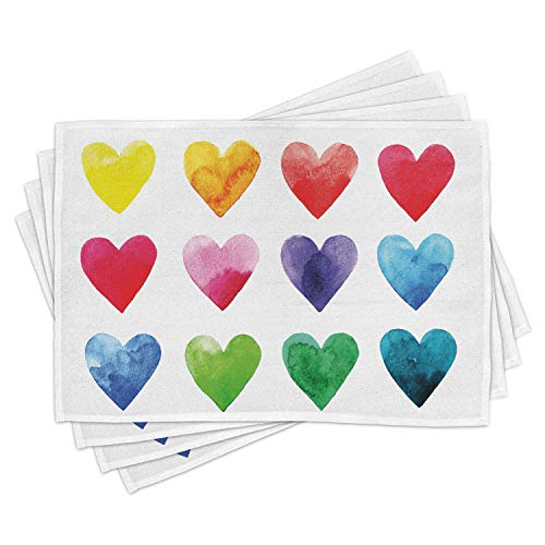 Ambesonne Valentine Place Mats Set of 4, Rainbow Colored Heart Shapes in Watercolors Hand Drawn Romantic Illustration, Washable Fabric Placemats for Dining Room Kitchen Table Decor, Pastel Red