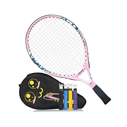 Raquetas De Tenis De Carbono para Principiantes, Traje Individual Niños Equipo Deportivo De Entrenamiento (Color : Pink, Size : 19 Inches)