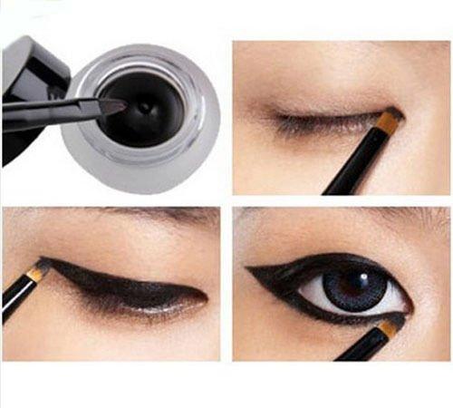 Generic Waterproof Eye Liner Eyeliner Shadow Gel Makeup Cosmetic + Black Brush by keepingup