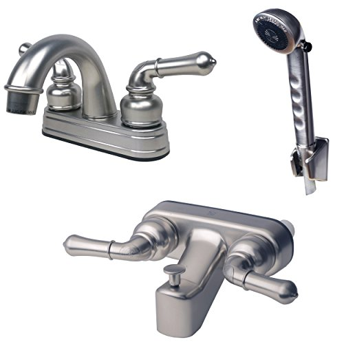 Laguna Brass 2001BN/3210BN/4120BN RV Bathroom and Tub Faucet with Matching Hand Shower Combo, Brushed Nickel Finish