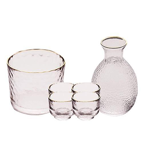 L.BAN 6-teiliges Glassake-Set, Japanisches Sake-Set mit wärmerem Topf, einzigartiges Hammer-Textur-Design, für kalte/warme/heiße Sake/Shochu/Tee-Kombinationssets