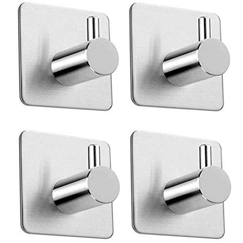 bidafun Stainless Steel, 304 Stainless Steel Self Adhesive Hooks, for Living Room,Office,Bathroom, Kitchen, Cloakroom, Bathrobe, Towel Rack 4-Pack