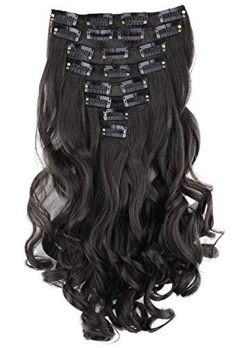 PRETTYSHOP XL 45cm 7 Teile Set CLIP IN EXTENSIONS Haarverlängerung Haarteil Voluminös Gewellt Schokobraun CE24-1