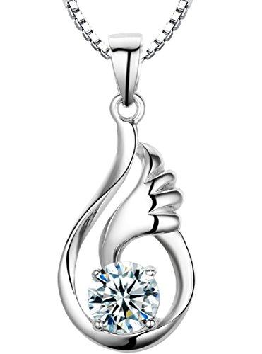 Arco Iris Schmuck Damen-Halskette mit Anhänger Flügel des Engels Sterling Silber mit Zirkonia 45 cm