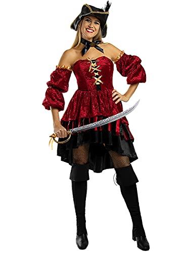 Funidelia | Disfraz de Pirata corsaria Elegante para Mujer Talla XS ▶ Corsario, Bucanero - Color: Granate - Divertidos Disfraces y complementos para Carnaval y Halloween