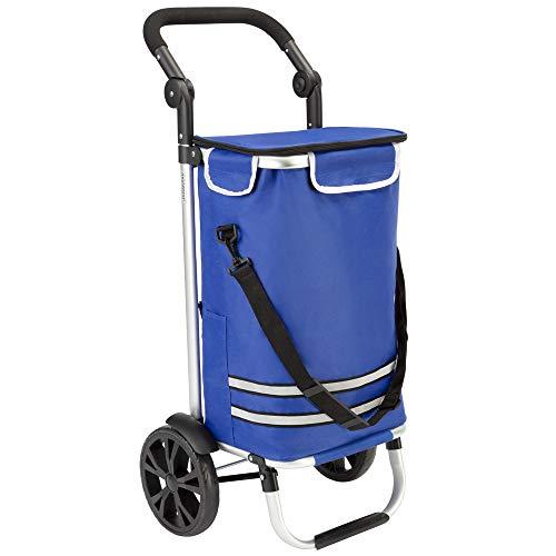 Monzana Carrello portaspesa 2 in 1 35L fino a 25 kg pieghevole borsa rimovibile carretto a mano carrello spesa blu