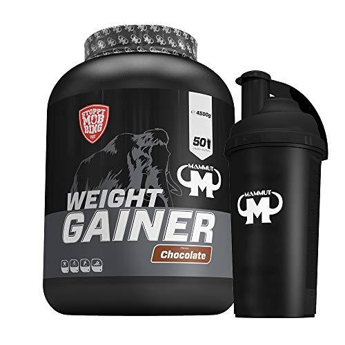4,5kg Mammut Weight Gainer Crash 5000 für Hardgainer - Set inkl. Protein Shaker oder Powderbank (Chocolate, Gratis Mammut Shaker)