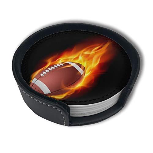 BJAMAJ Fire American Football Premium PU-Leder Untersetzer rund mit Halterungen, geeignet für Zuhause und Küche, 6 Stück