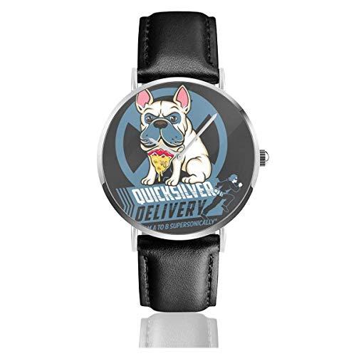 Unisex Business Casual X Men Quicksilver Pizza Dog Relojes Reloj de Cuero de Cuarzo