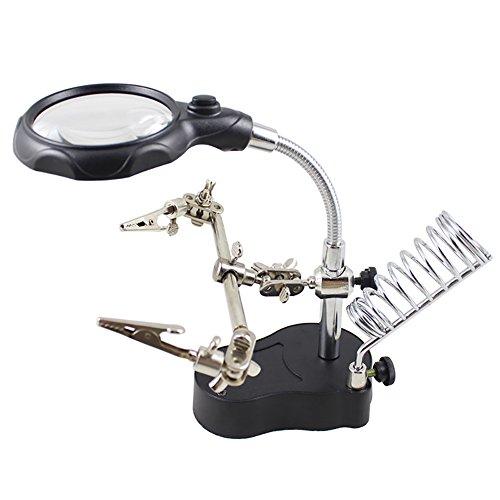 LED Helping Hands Soldeerstations Vergrootglas met 2 LED's, Dubbele Vergroting Lens (3.5X/12X), LED Verlichting Vergrootglas Soldeerstandaard voor Solderen, Elektronica, Hobby, Craft