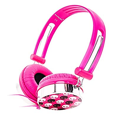 Rockpapa On Ear Boys Girls Kids Childs Adults Skull Adjustable Wired DJ Headphones with Soft Earpads Earphones for MP3/4 DVD CD PC TV / Android Tablet /3.5mm Plug - Pink by Rockpapa