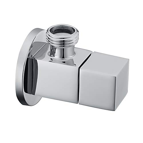 Royal H&H Modern Angle Valve Stop Square Knob 1/2 inch IPS G1/2 Solid Brass Quarter Turn Polished Chrome