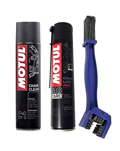 Kit para la limpieza y lubricacion de la cadena Motul Chain Clean C1 + Motul C2 Chain Lube Road + Cepillo