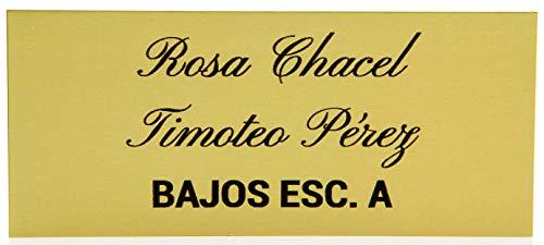 Placas Buzón de Aluminio Dorado y Grabado Negro. Cinta autoadhesiva. Grosor 0,5mm y tamaño máximo 100x40mm.