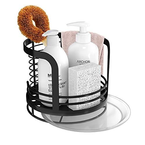 Oriware Organizador Sink Caddy Soporte para Utensilios de Cocina para el Fregadero Soporte para Trapo de Cepillo de Esponja Acero Inoxidable - Negro