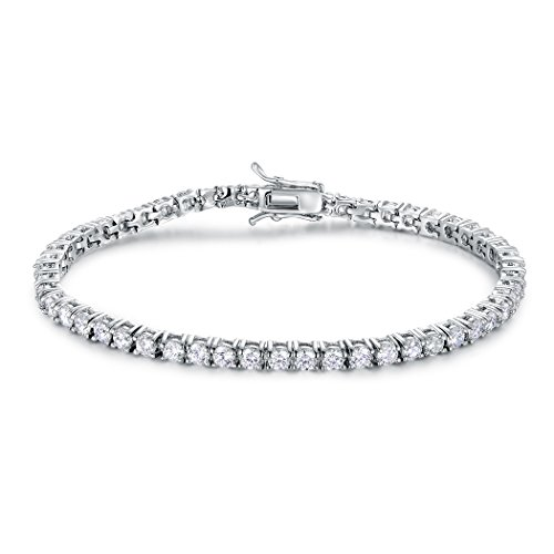 Cubic Zirconia Bracelet 3mm CZ White Gold Plated Tennis Bracelets for Women 7.5 Inch