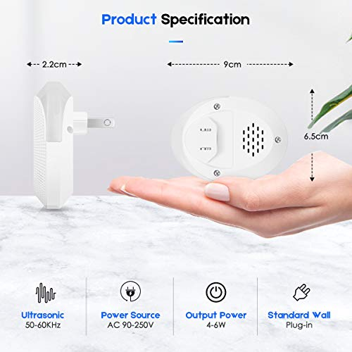 Lanccona Ultrasonic Pest Repeller, Electronic Indoor Pest Repellent Plug in Pest Control, Repellent for Mosquito, Fleas, Cockroaches, Rats, Mice, Bug, Spider, Ant, Human