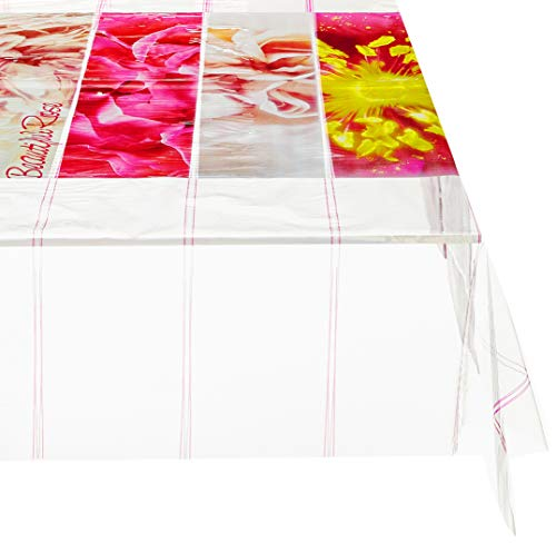 Soleil d'ocre 857612 Nappe Rectangulaire Imprimé Beautiful Rose PVC Transparent 140 x 240 cm
