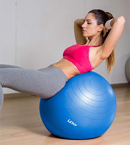 LETWY Palla Fitness | 65cm Blu | Nuova Versione 2020 con Poster Esercizi-Ginnastica, Fitball Fit Balls, Gymball Pilates, Yoga, Attrezzi Palestra Casa