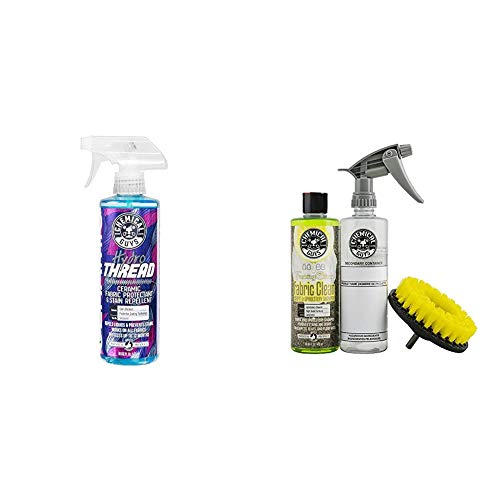 Chemical Guys Foaming Citrus Fabric Clean Carpet and Upholstery Cleaning & Protectant Bundle with HydroThread, Drill Brush and Spray Bottle (4 Items)