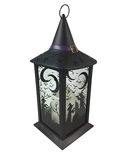 All Hallows Eve LED Candle Lantern for Halloween Centerpiece Decoration Witch's Hat