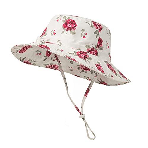 Highdi Sombrero de Sol para Niños, Sombrero Pescador Verano Niña Moda Floral Impresión Gorra de Sol con Correa de Barbilla Ajustable, Bebé Sombrero de Playa (Rosa,M(50-54cm))
