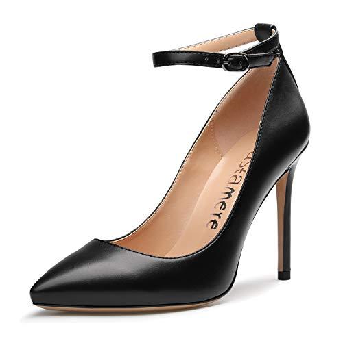 CASTAMERE Damen High Heels Spitzen Zehen Ankle-Strap Pumps Elegant Party Stilettos 10CM PU Schwarz Schuhe EU 40.5