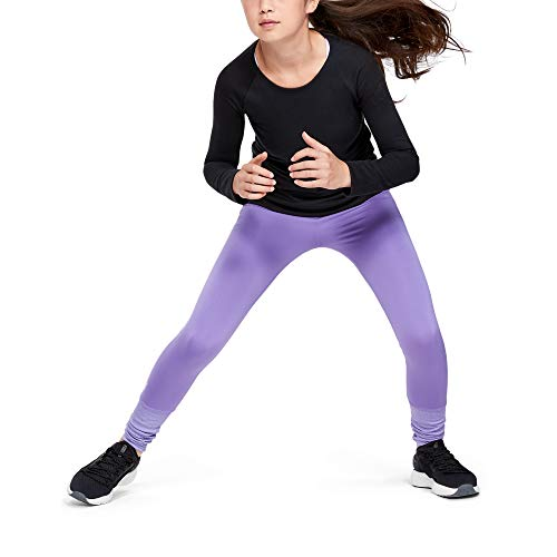 Under Armour Girls' Girl ColdGear Leggings , Flight Purple (589)/Purple Crest , Youth Medium