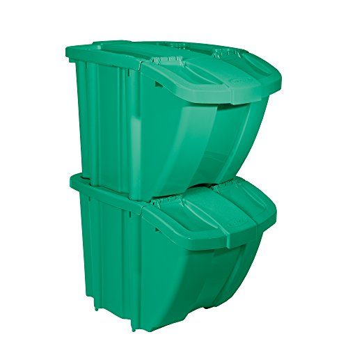 Suncast Kit Stackable Organizer Stores Recyclables Tools and Toys Bin with Front Flap Ideal for Dry Storage, Green