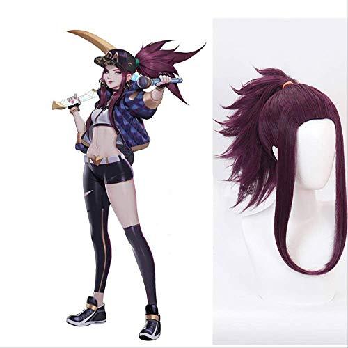 Coaroad LOL KDA Akali Cosplay pelucas Akali The Rogue Assassin pelo sintético nueva piel Cosplay Headwear pelo largo púrpura para mujeres