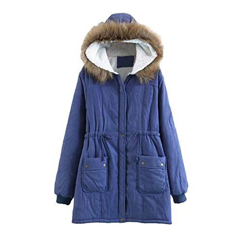 Shirt Luv Women Fleece Long Sleeve Hooded Outdoor Wind Warm Slim Jacket Coat (Blue XXL) Winter Fall Clothes for Woman