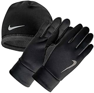 Men's Run Thermal HAT and Glove Set S/M Black/Anthracite/Silver