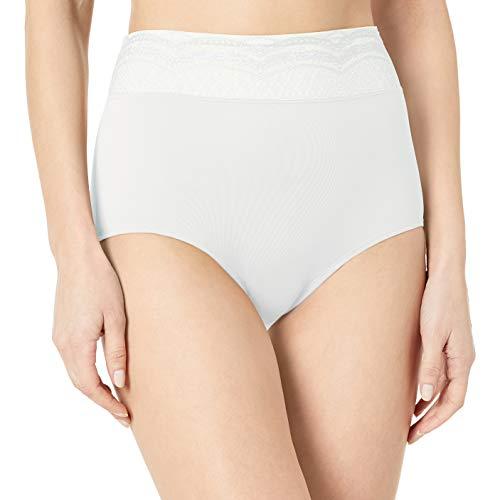 Warner's Women's No Pinching No Problem Microfiber with Lace Brief Panty, White, XXXL