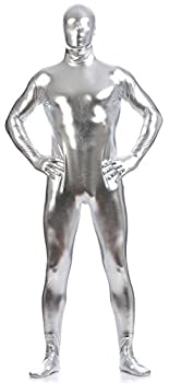 VSVO Unisex Metallic Second Skin Spandex Full Body Suit for Adults and Children  Large Silver