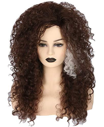 Topcosplay Peluca Afro para Mujer, Cosplay Bellatrix Lestrange Peluca Larga Peluca Marrón Rizada para Disfraz de Halloween Carnaval