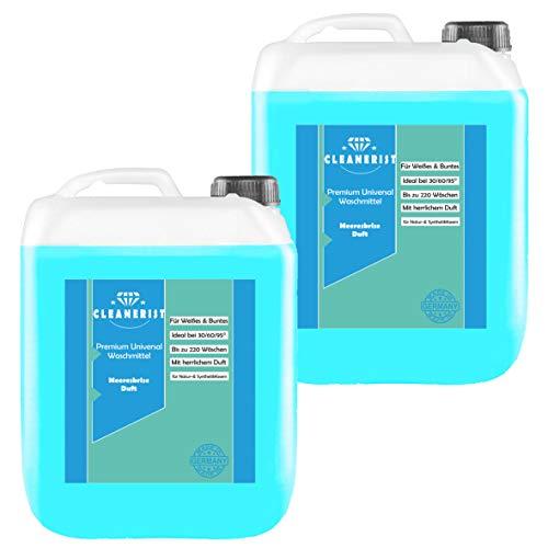 Cleanerist Flüssigwaschmittel Premium Waschmittel mit Meeresbrise-Duft | 2x10 Liter Vollwaschmittel Grosspackung | bis zu 440 Waschladungen color weiß schwarz