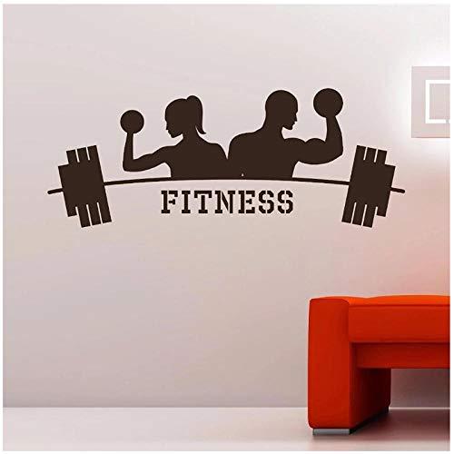 KBIASD Diseño moderno arte decoración Fitness gimnasio pared calcomanía vinilo pegatina deportes atletismo arte decoración del hogar pegatina de pared 90 x 35 cm