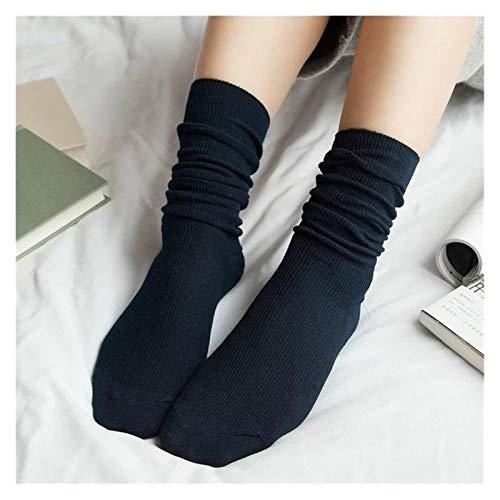 FKJSP Calcetines de mujer de algodón de varios colores lindos calcetines largos suaves y sueltos para mujer niña calcetines de regalo (color: azul marino, tamaño: EUR35 40)