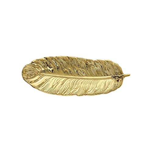 QFF- fruit dish Leaf Shaped Ceramic Snack Tray Sushi Tray Creative Cake Tray Thanksgiving Party Decorating Trays Home Decor Decorating Trays dishes for banquet ( Color : Gold , Size : 36*12.5*2.5cm )