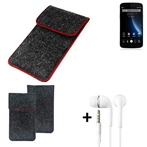 K-S-Trade Handy Schutz Hülle Für Doogee X6S Schutzhülle Handyhülle Filztasche Pouch Tasche Hülle Sleeve Filzhülle Dunkelgrau Roter Rand + Kopfhörer