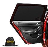 PEMOTech Sonnenschutz Auto (2 Stück), Sonnenschutz Auto Baby/Kinder Doppelseitiges UV Schutz Autofenster Sonnenschutz, Reduziert Wärme und UV-Strahlung,für 95% der Autos, großes Auto, SUV-(110 * 48 cm)