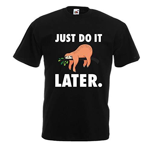 Shirt-Panda Herren Just do it Later Faultier liegend T-Shirt Männer Chillen Sloth Schwarz (Druck Weiß) XL