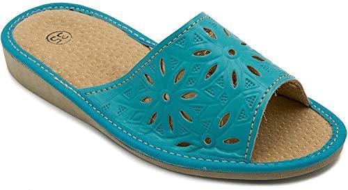 ab-soft absoft Hausschuhe für Damen 100% Pantoffeln Öko-Leder (37 EU, Türkis)