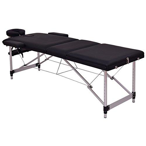 "Giantex 72""L Portable Massage Table Aluminum Facial SPA Bed Tattoo w/Free Carry Case (Black)"